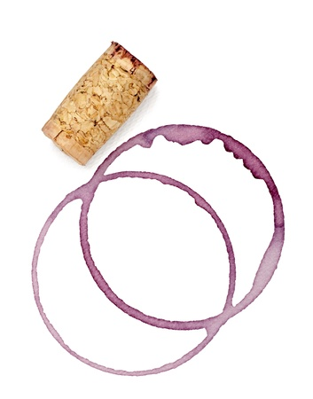close up of  a wine stains and cork opener on white background Stock Photo - 10722936