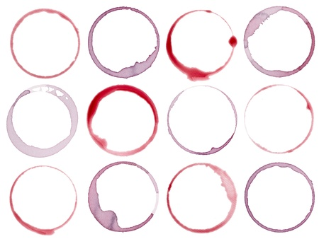 collection of  various wine stains on white background photo