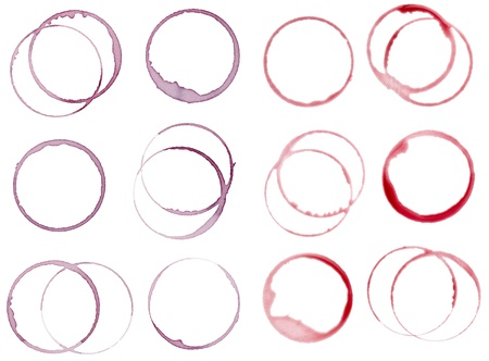 red wine stain: collection of  various wine stains on white background