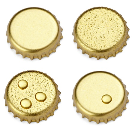 collection of  various bottle cap on white background. each one is shot separately photo