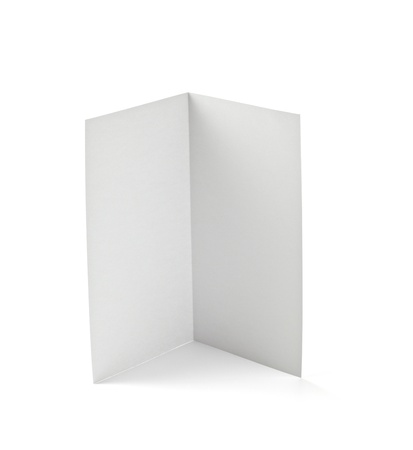 folded paper: close up of  a folded card on white background Stock Photo