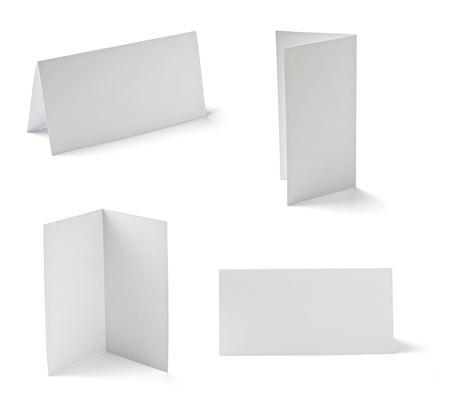 pamphlet: collection of  various folded cards on white background. each one is shot separately