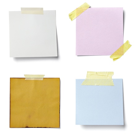 cardboard cutout: collection of various  note papers on white background. each one is shot separately