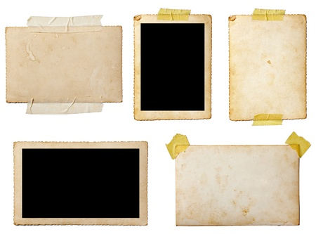collection of various  old photos on white background. each one is shot separately photo