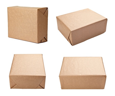 collection of vaus views of a wrapped box on white background. each one is shot separately Stock Photo - 10808753