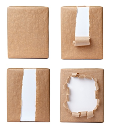 wrapped gift: collection of various views of a wrapped box on white background. each one is shot separately Stock Photo