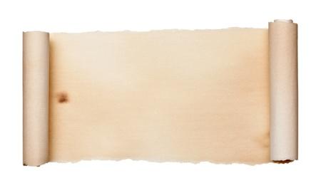 curled edges: Close up di un documento arricciata su sfondo bianco Archivio Fotografico