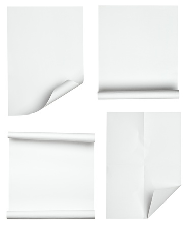 page turn: collection of various papers on white background. each one is shot separately