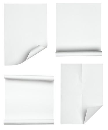 curled edges: raccolta di articoli vari su sfondo bianco. ognuno � girato separatamente