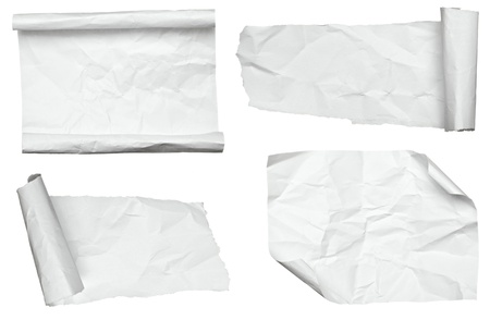 collection of various white papers on white background. each one is shot separately photo