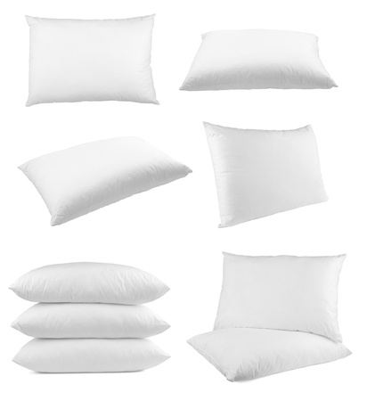 bedroom furniture: collection of  pillows on white background. each one is shot separately Stock Photo