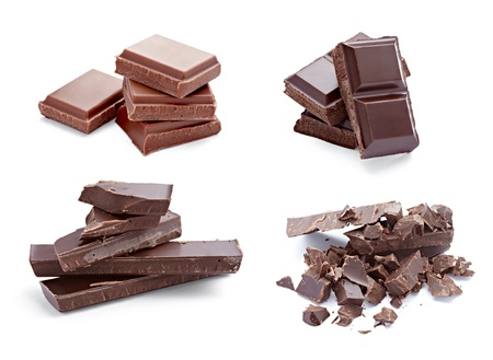 collection of various chocolate pieces on white background. each one is shot separately photo