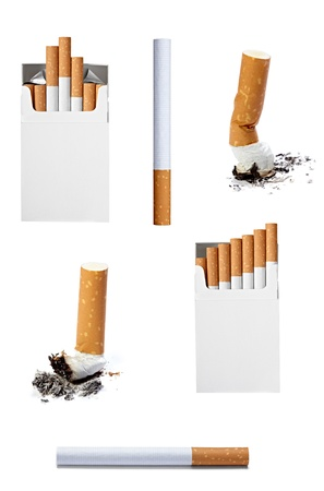 unpacked: collection of various cigarettes on white background. each one is shot separately