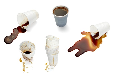 collection of various empty used coffee cups on. each one is shot separately Stock Photo