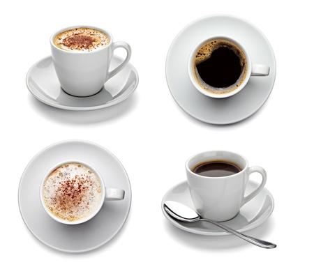 capuchino: colecci�n de tazas de caf� diferentes en el fondo blanco. cada uno de ellos recibe un disparo por separado