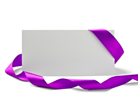 pink ribbons: close up of  card note with  ribbon on white background  with clipping path Stock Photo