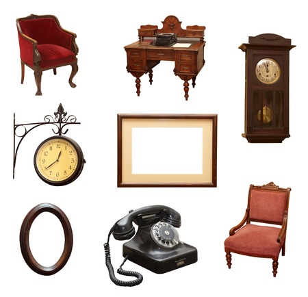 collection of various vintage objects on white background. each one is shot separately Stock Photo - 10885344
