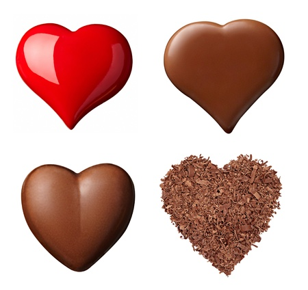 cacao: collection of  various chocolate heart shapes on white background. each one is shot separately