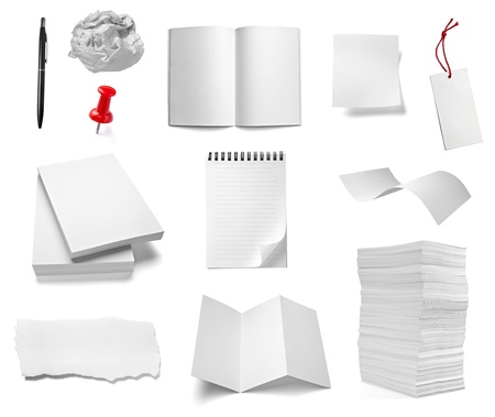 curled: collection of various office papers and objects on white background. each one is shot separately