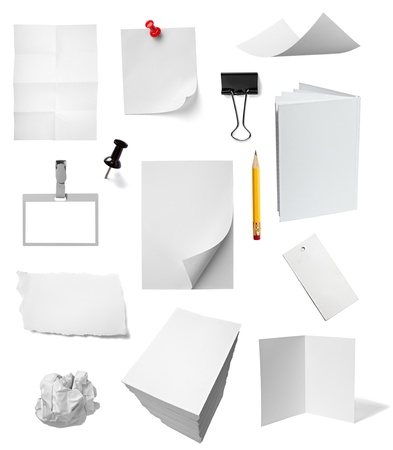 collection of various office papers and objects on white background. each one is shot separately Stock Photo - 10885274