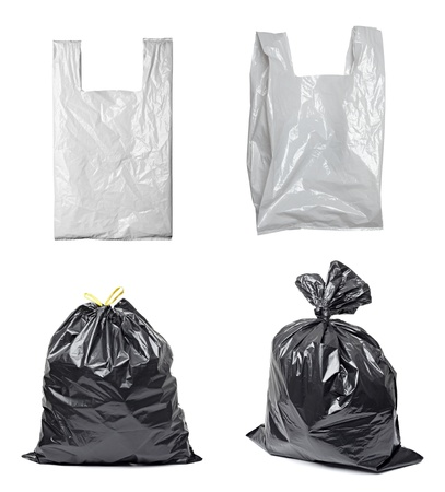 plastic container: collection of various plastic bags on white background. each one is shot separately Stock Photo