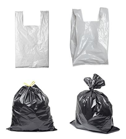 Śmieciarka: zbiór różnych plastikowych toreb na biaÅ'ym tle. każdy jeden zostaje zastrzelony oddzielnie