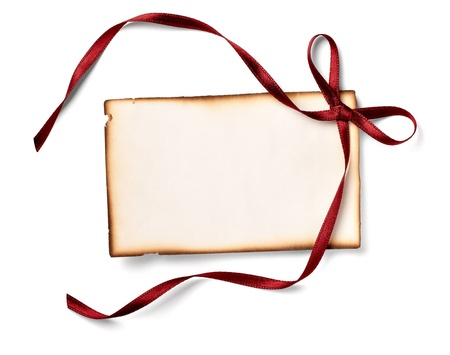 close up of  card note with  ribbon  Stock Photo - 11007133