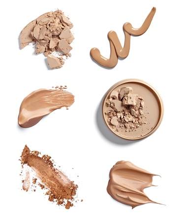 collection of  various make up powder strokes on white background. each one is shot separately photo