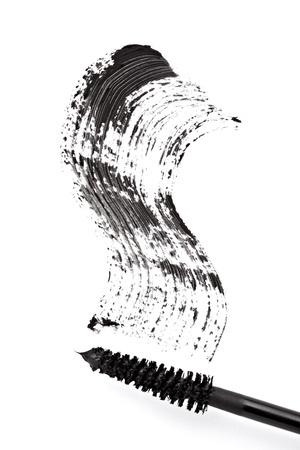 mascara: close up of black mascara on white background