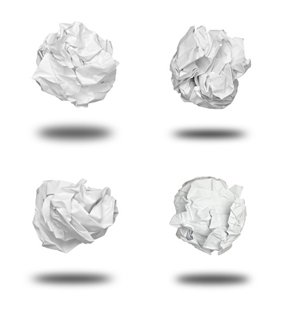 throw away: collection of various paper ball on white background. each one is shot separately Stock Photo