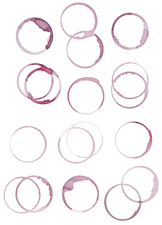 collection of  various wine stains on  white background. each one is shot separately photo