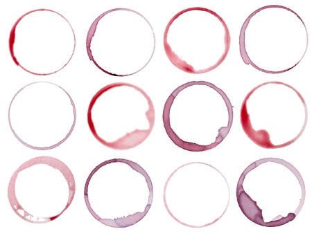 wine stains: collection of  various wine stains on  white background. each one is shot separately