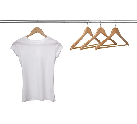 hang body: close up of a white t shirt on cloth hangers in row