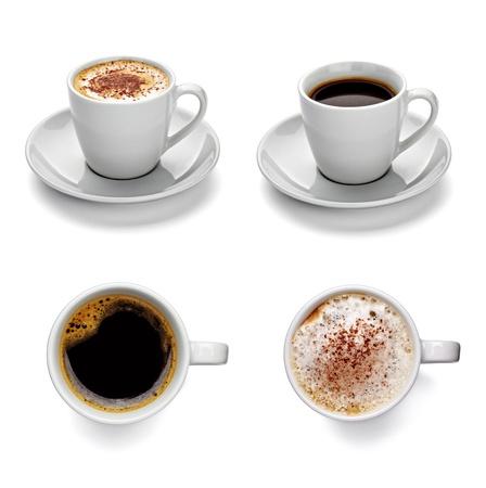 tazas de cafe: colección de tazas de café diferentes sobre fondo blanco. cada uno es asesinado por separado Foto de archivo