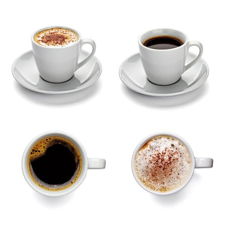 collection of various coffee cups on white background. each one is shot separately photo