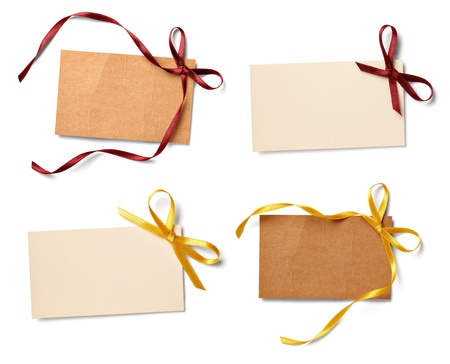 collection of  various card notes with ribbon on white background.each one is shot separately Stock Photo - 11007210