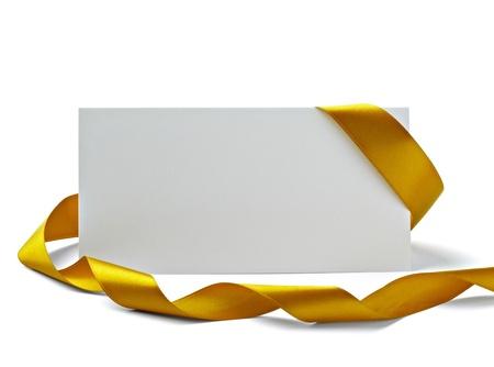 letras de oro: cerca de la tarjeta de nota con la cinta
