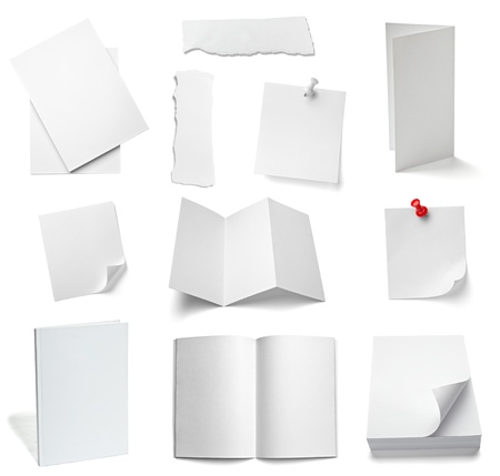collection of various office papers and objects on white background. each one is shot separately photo