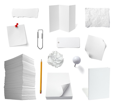 collection of various office papers and objects on white background. each one is shot separately Stock Photo - 11007180
