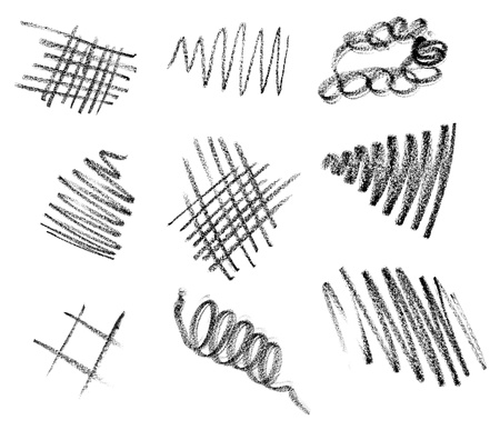 collection of various pencil strokes on white background photo
