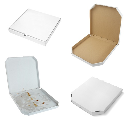 pizza box: collection of a pizza  boxes  on white background. each one is shot separately