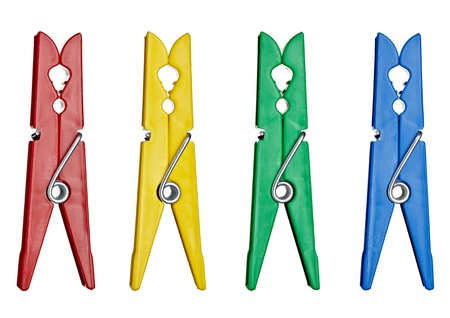 clothespin: collection of various clothes pegs on white background. each one is shot separately
