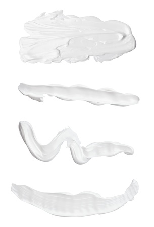 collection of various beauty cream strokes on white background. each one is shot separately Stock Photo - 11163816