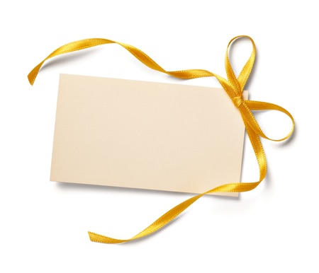 close up of  card note with  ribbon on white background  with clipping path photo