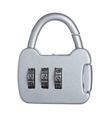 close up of  a padlock with code on white background with clipping path Stock Photo - 11163831