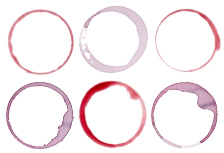 collection of  vaus wine stains on  white background. each one is shot separately Stock Photo - 11163822