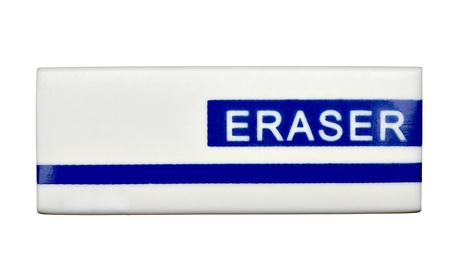 deleting: close up of  an eraser on white background