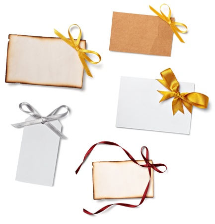 silk ribbon: collection of  various card notes with ribbon on white background.each one is shot separately