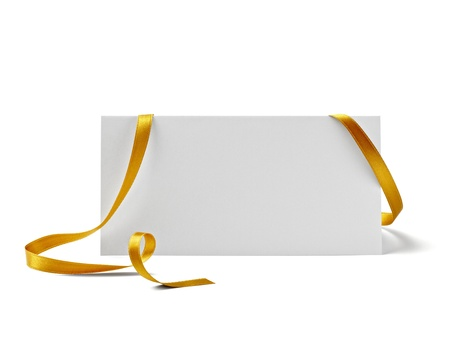 birthday banner: close up of  card note with  ribbon on white background  Stock Photo