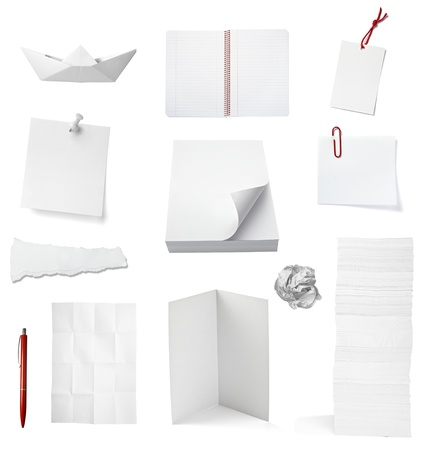 note booklet: collection of various office papers and objects on white background. each one is shot separately